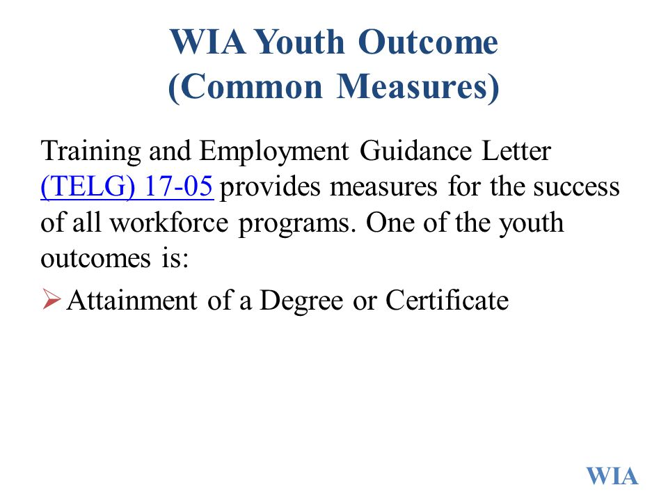 WIA Youth Outcome (Common Measures) Training and Employment Guidance Letter (TELG) provides measures for the success of all workforce programs.