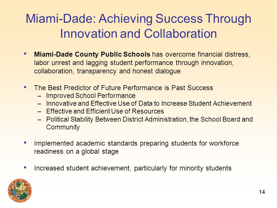 14 Miami-Dade: Achieving Success Through Innovation and Collaboration Miami-Dade County Public Schools has overcome financial distress, labor unrest and lagging student performance through innovation, collaboration, transparency and honest dialogue The Best Predictor of Future Performance is Past Success –Improved School Performance –Innovative and Effective Use of Data to Increase Student Achievement –Effective and Efficient Use of Resources –Political Stability Between District Administration, the School Board and Community Implemented academic standards preparing students for workforce readiness on a global stage Increased student achievement, particularly for minority students 14