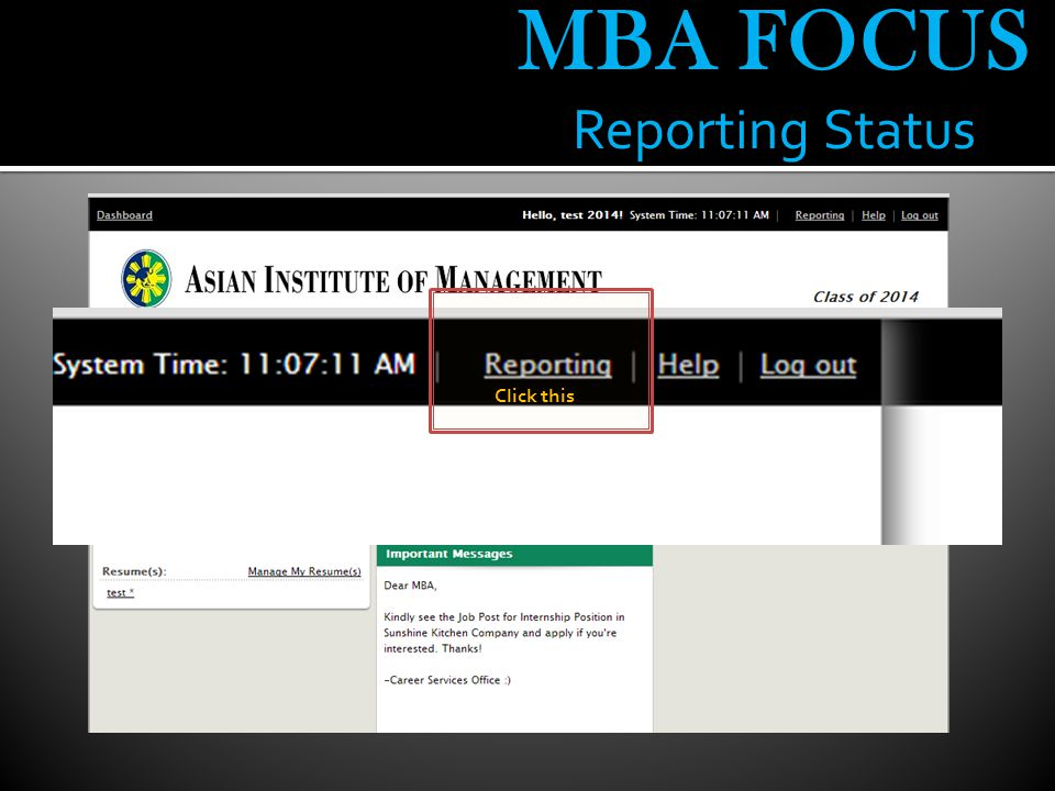 MBA FOCUS Reporting Status Click this