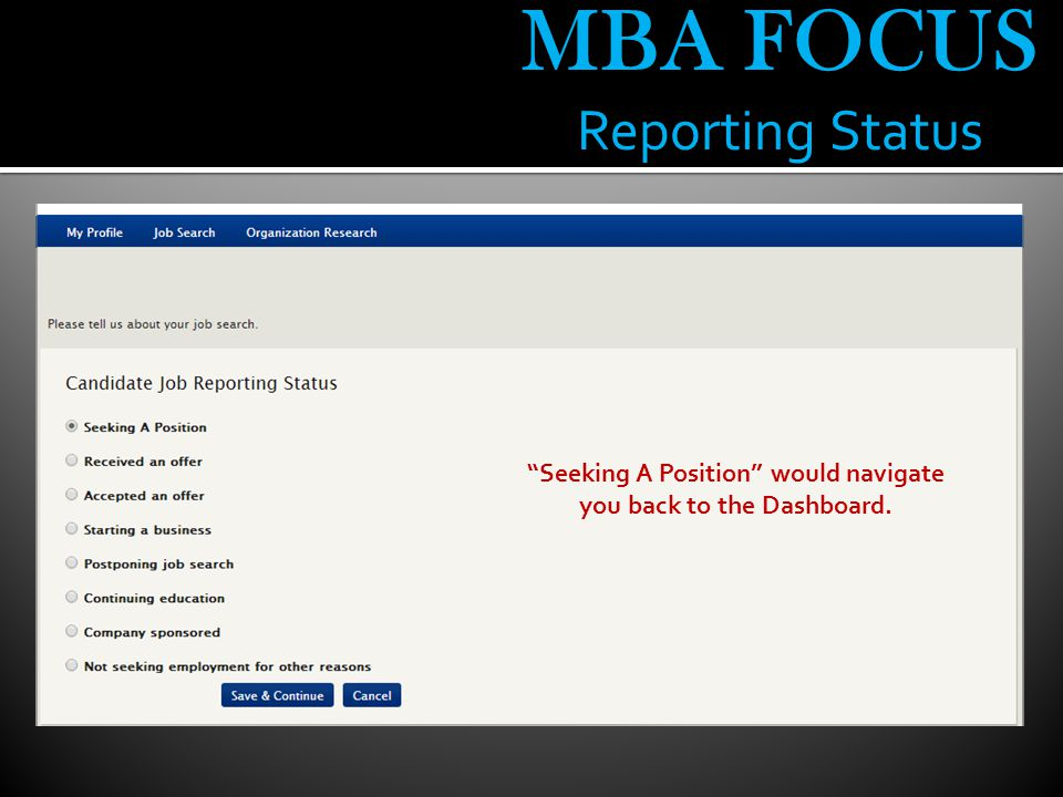 MBA FOCUS Reporting Status Seeking A Position would navigate you back to the Dashboard.