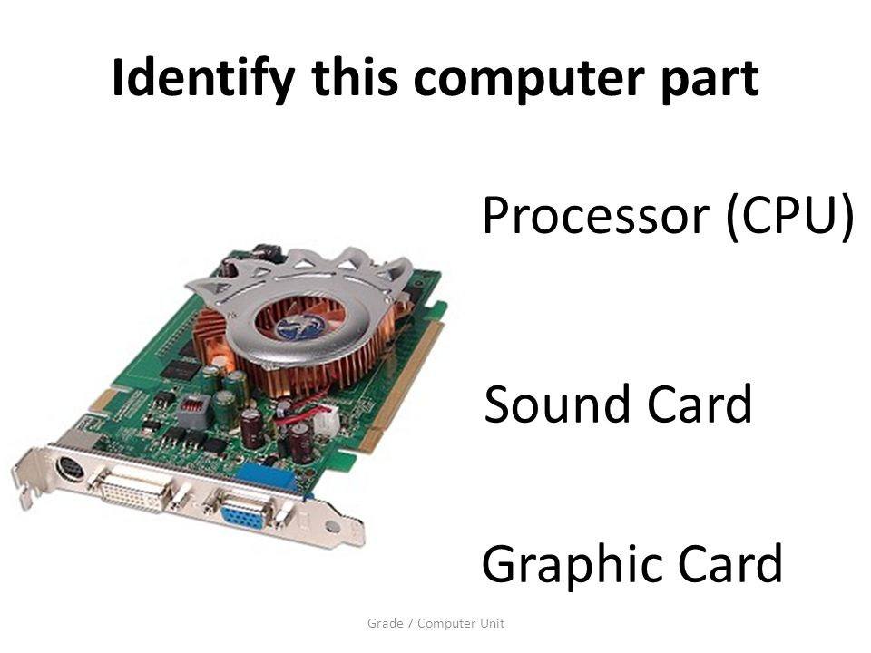 Identify this computer part Graphic Card Sound Card Processor (CPU) Grade 7 Computer Unit