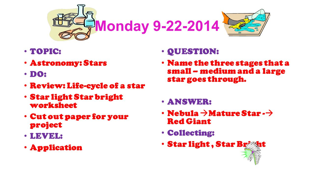 Warmups 1 st Quarter Astronomy Wednesday TOPIC Classroom – Life Cycle of a Star Worksheet