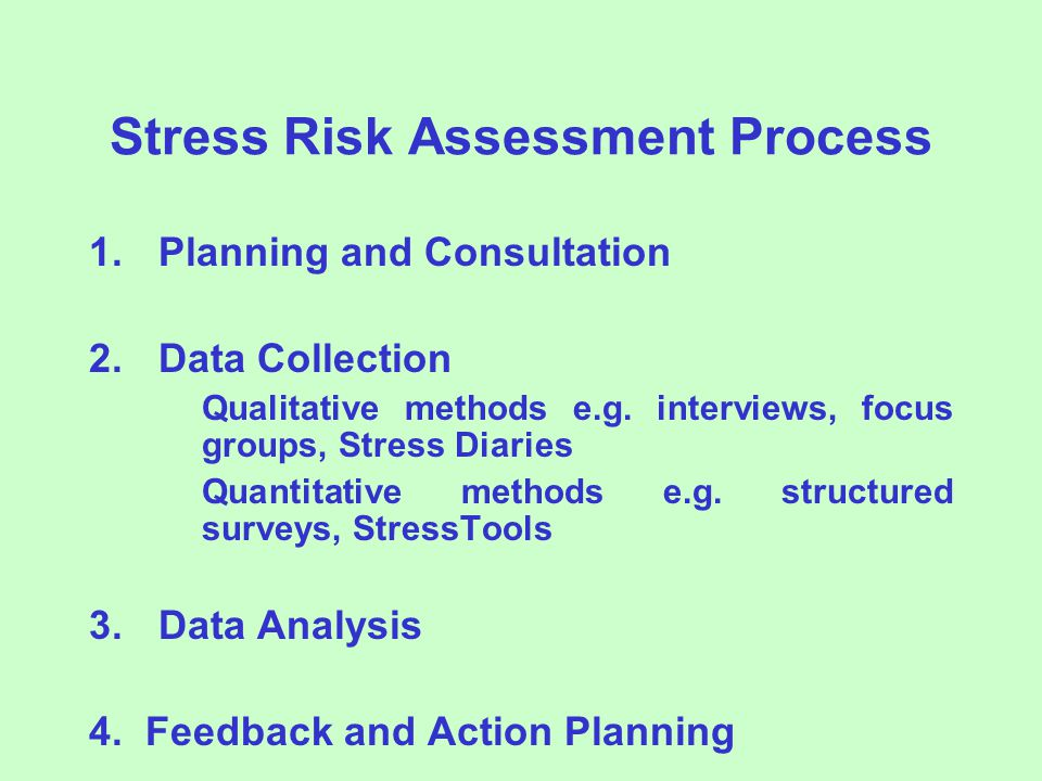 Stress Risk Assessment Process 1.Planning and Consultation 2.Data Collection Qualitative methods e.g.