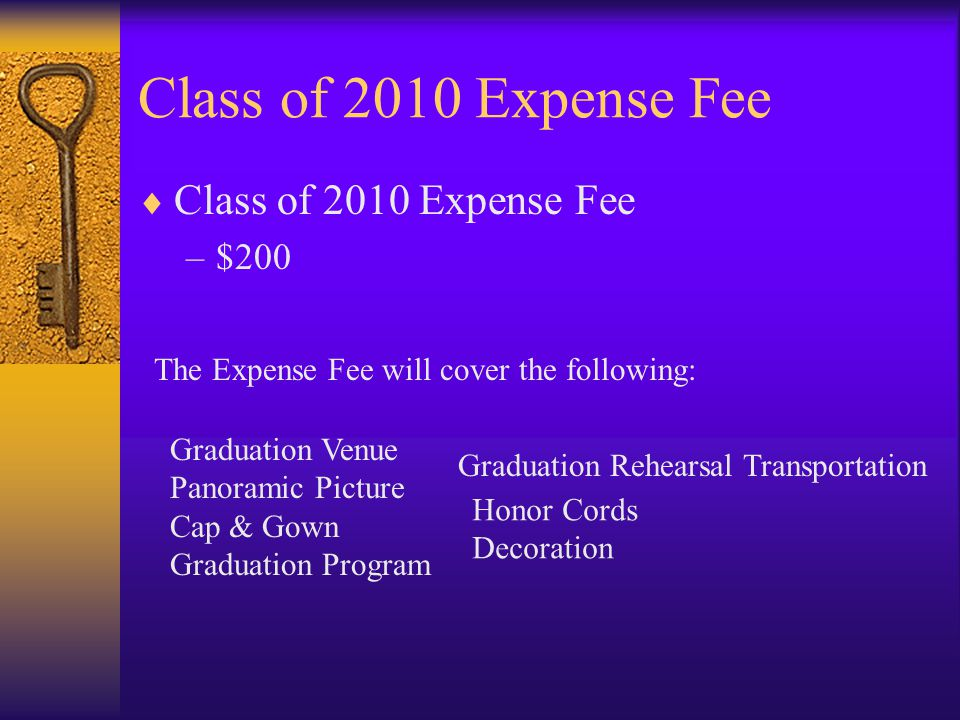 Class of 2010 Projected Expense *Figures based upon class of 2007 and 2008  Graduation –$ $13000 venue –1,800 program –$500 decorations –$7000 cap & gown –$2000 Photography –$2000 Rehersal Transportation