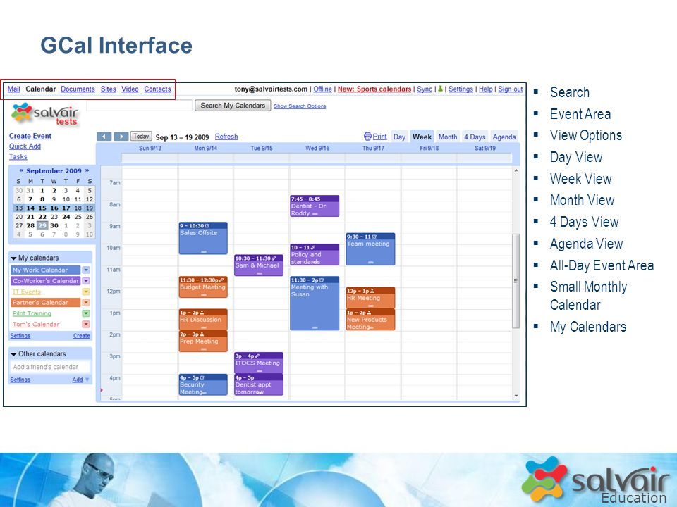 Education  Search  Event Area  View Options  Day View  Week View  Month View  4 Days View  Agenda View  All-Day Event Area  Small Monthly Calendar  My Calendars GCal Interface