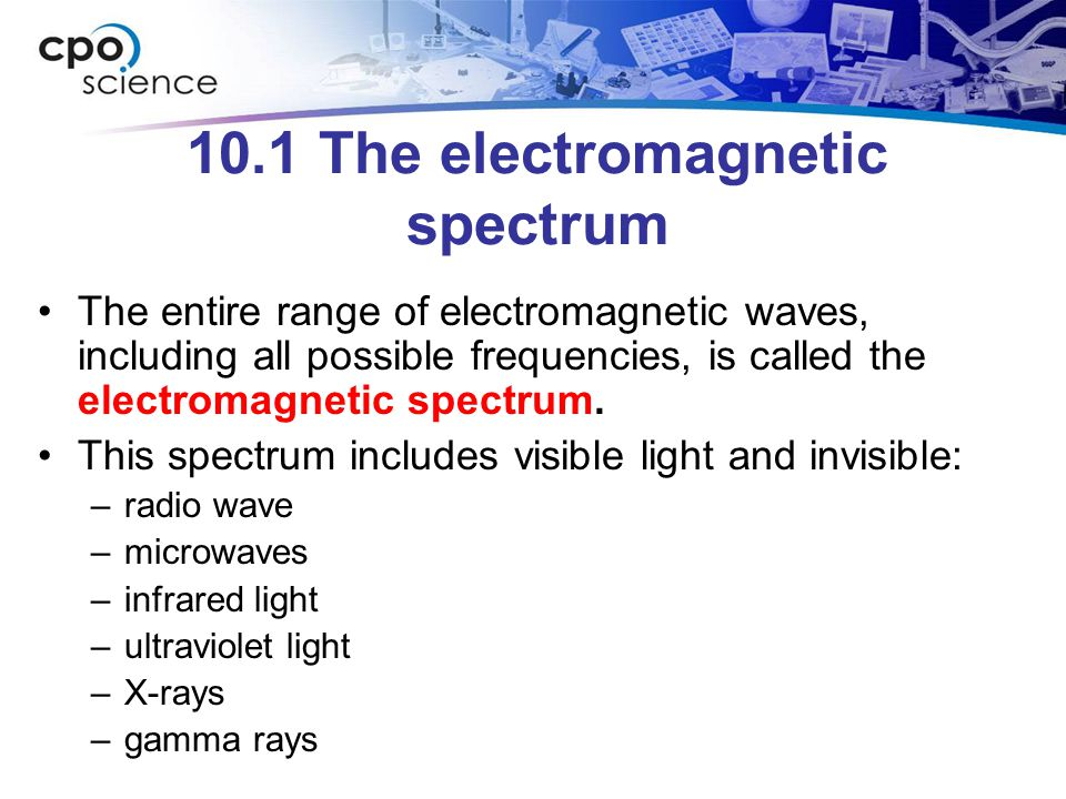 10.1 The electromagnetic spectrum The entire range of electromagnetic waves, including all possible frequencies, is called the electromagnetic spectrum.