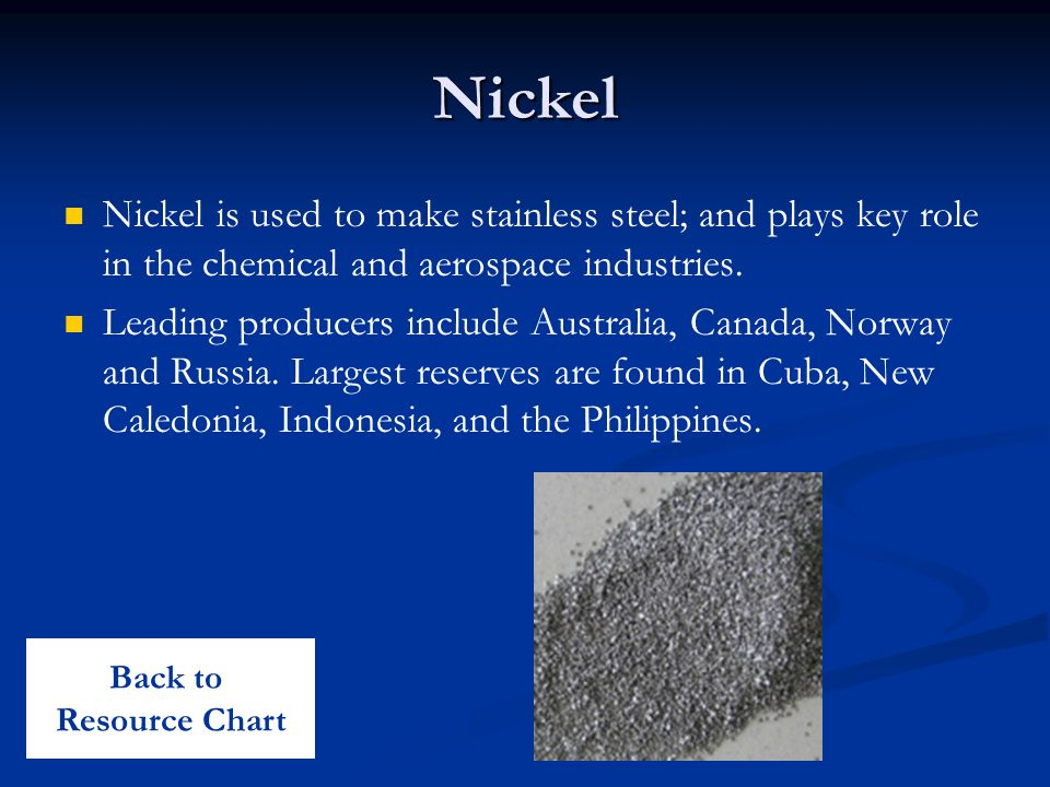 Nickel Nickel is used to make stainless steel; and plays key role in the chemical and aerospace industries.