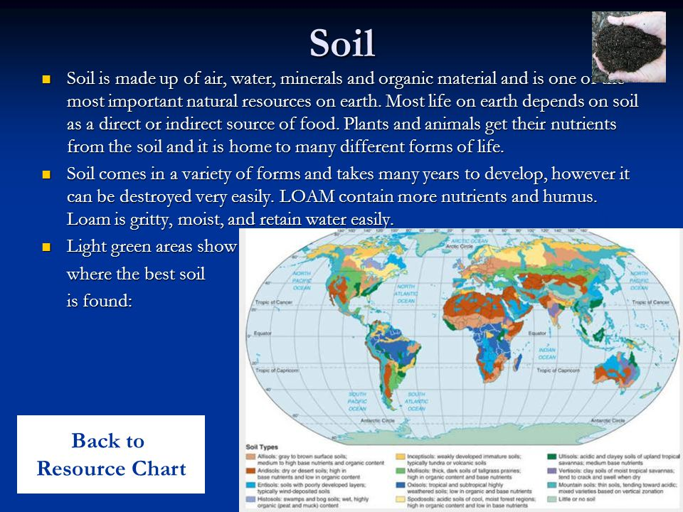 Soil Soil is made up of air, water, minerals and organic material and is one of the most important natural resources on earth.