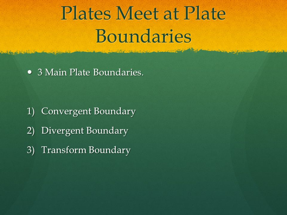 Plates Meet at Plate Boundaries 3 Main Plate Boundaries.