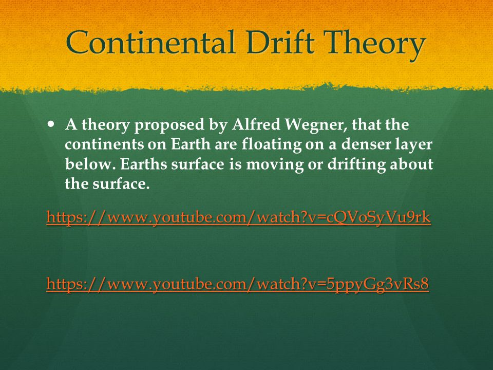 Continental Drift Theory A theory proposed by Alfred Wegner, that the continents on Earth are floating on a denser layer below.