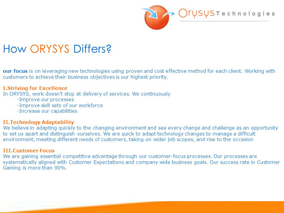 How ORYSYS Differs.