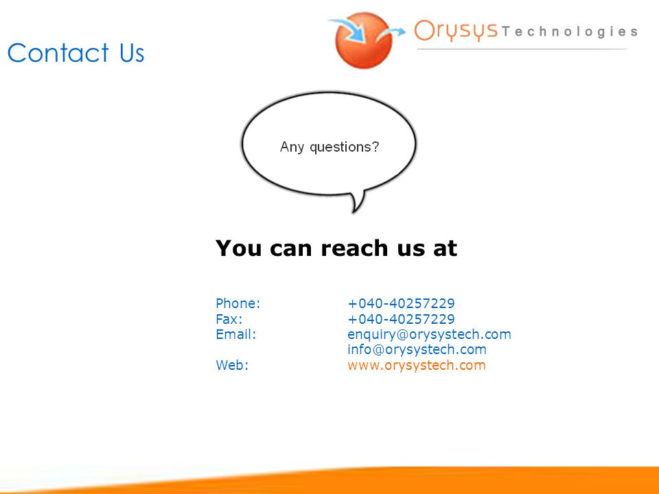 Contact Us You can reach us at Phone: Fax: Web: