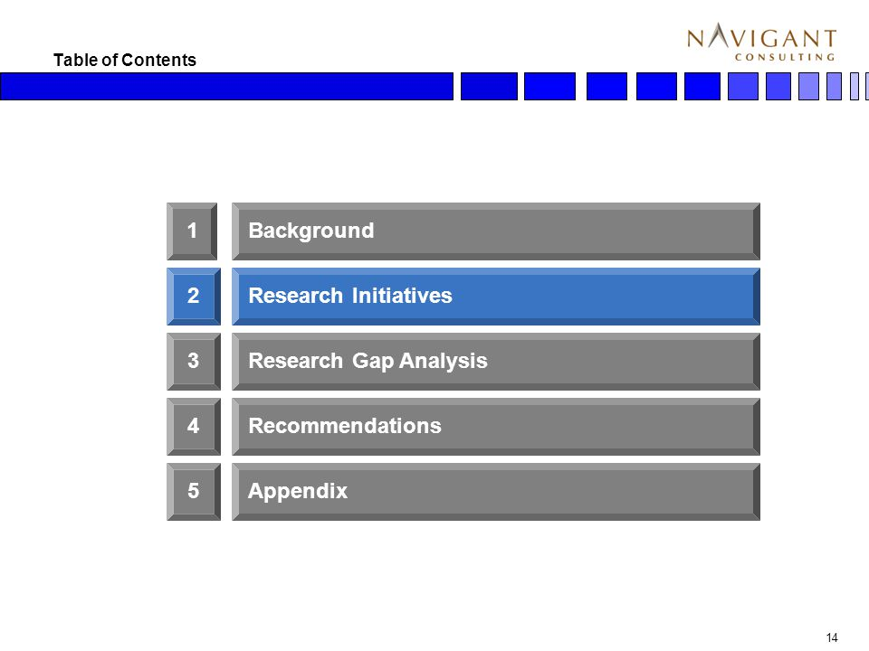 14 Table of Contents 2 3 1Background Research Initiatives Research Gap Analysis 4Recommendations 5Appendix