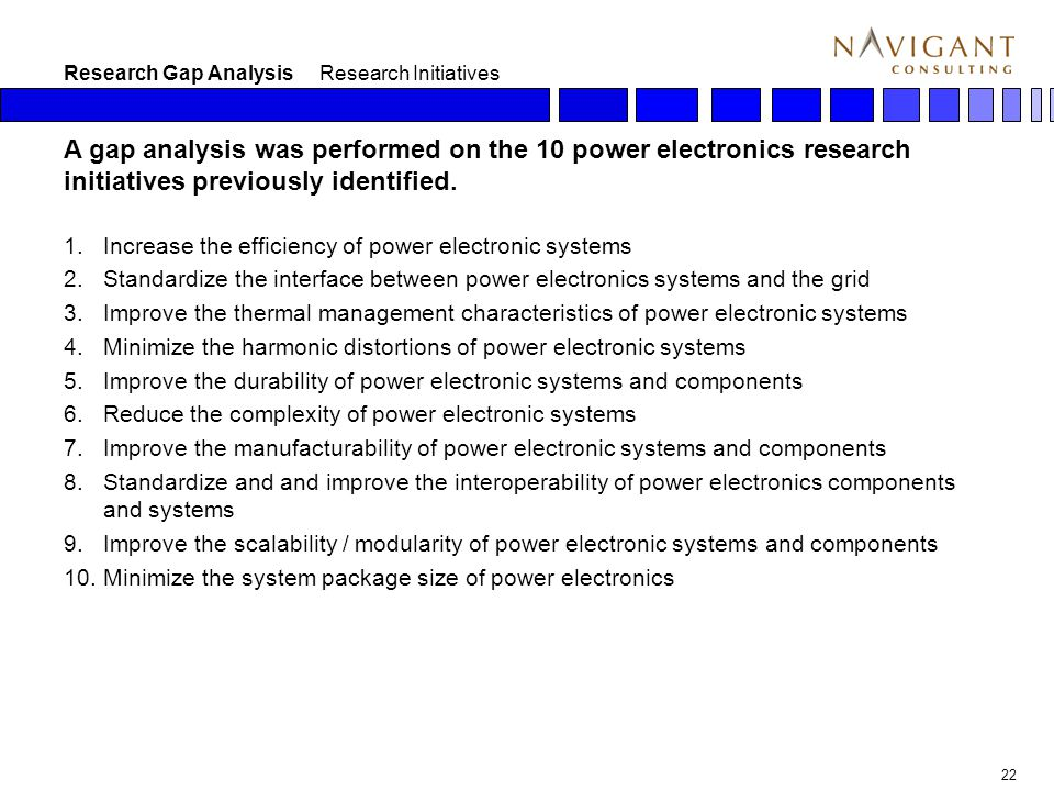 22 Research Gap Analysis Research Initiatives A gap analysis was performed on the 10 power electronics research initiatives previously identified.