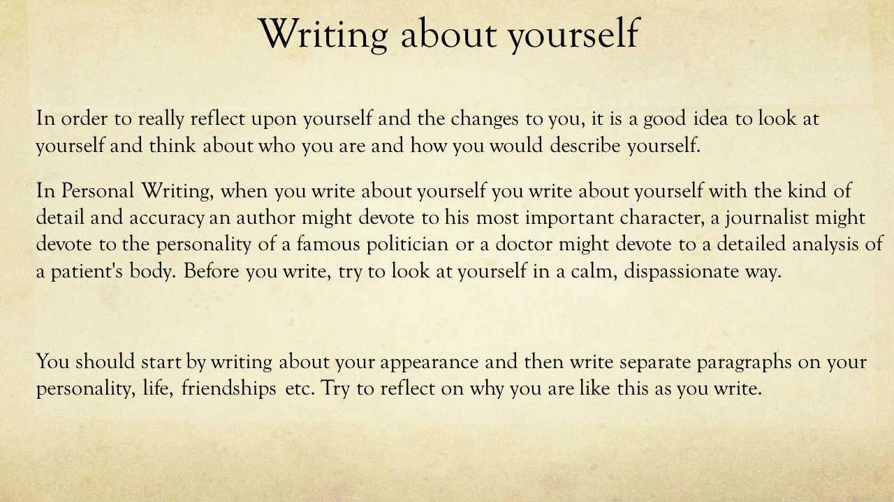 national creation and production personal reflective ppt writing about yourself in order to really reflect upon yourself and the changes to you