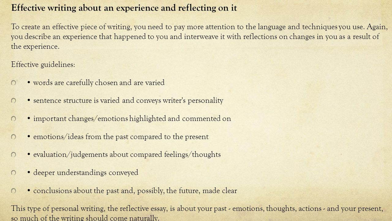 a reflective essay on personal experiences write online guided  national creation and production personal reflective ppt effective writing about an experience and reflecting on it