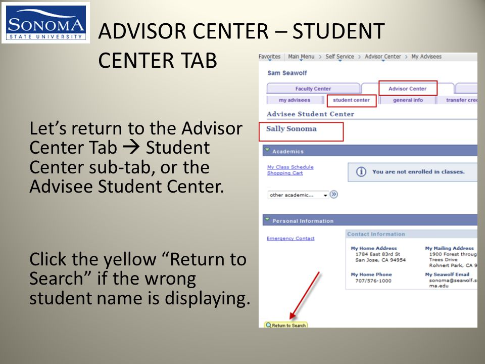 ADVISOR CENTER – STUDENT CENTER TAB Let's return to the Advisor Center Tab  Student Center sub-tab, or the Advisee Student Center.