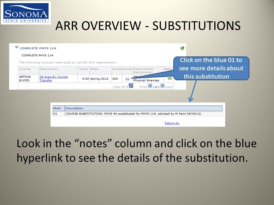ARR OVERVIEW - SUBSTITUTIONS Look in the notes column and click on the blue hyperlink to see the details of the substitution.