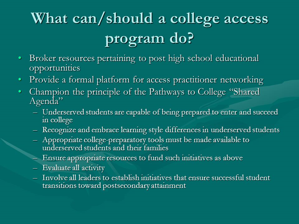 What can/should a college access program do.