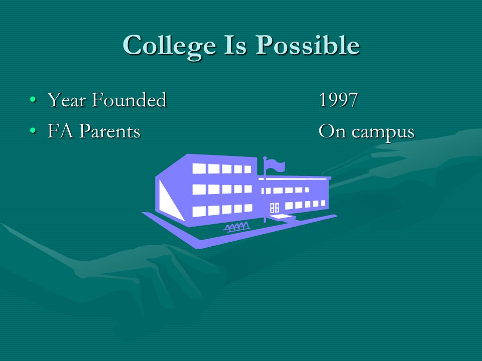 College Is Possible Year Founded1997Year Founded1997 FA ParentsOn campusFA ParentsOn campus