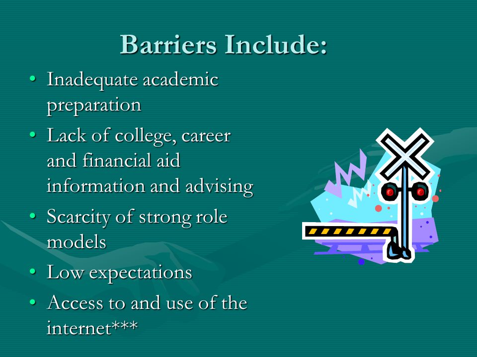 Barriers Include: Inadequate academic preparationInadequate academic preparation Lack of college, career and financial aid information and advisingLack of college, career and financial aid information and advising Scarcity of strong role modelsScarcity of strong role models Low expectationsLow expectations Access to and use of the internet***Access to and use of the internet***