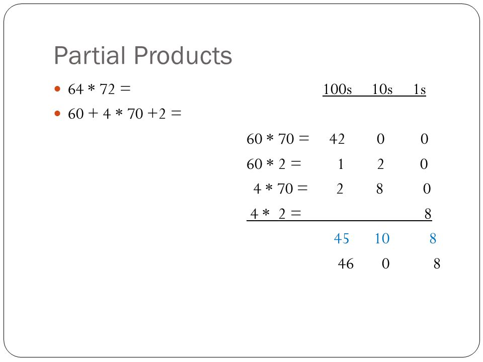 Partial Products 64 * 72 = 100s 10s 1s * = 60 * 70 = * 2 = * 70 = * 2 =