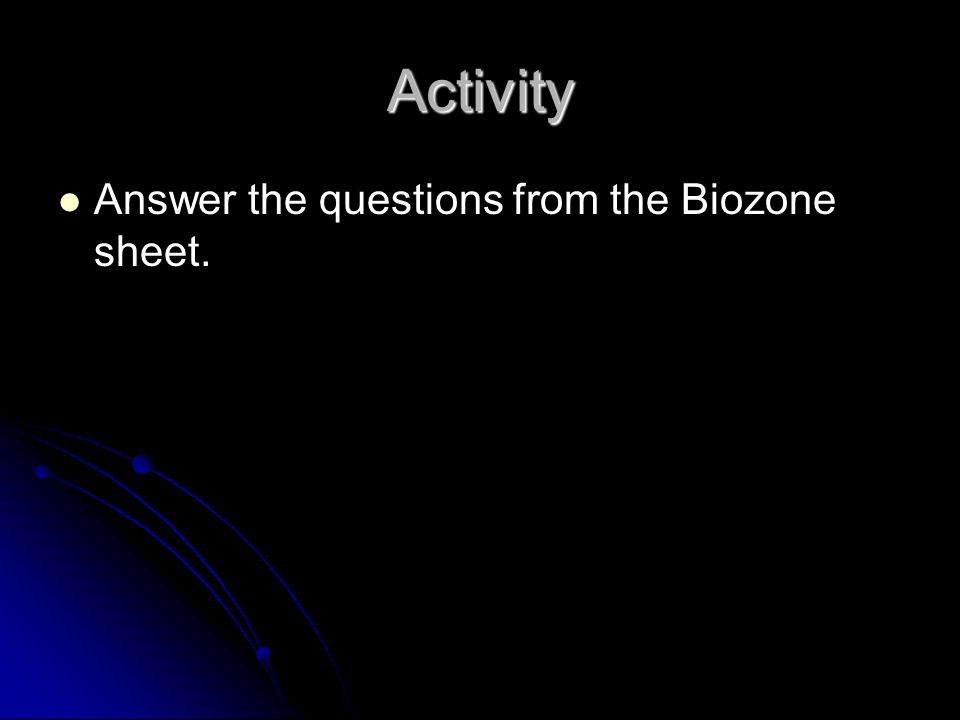 Answer the questions from the Biozone sheet. Activity