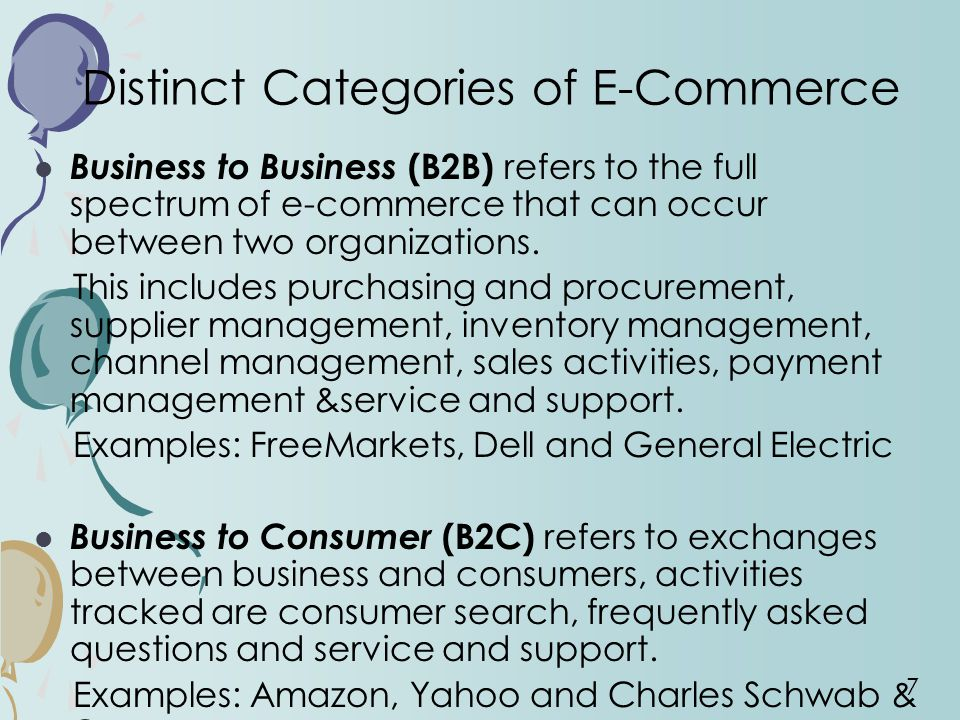 7 Distinct Categories of E-Commerce Business to Business (B2B) refers to the full spectrum of e-commerce that can occur between two organizations.