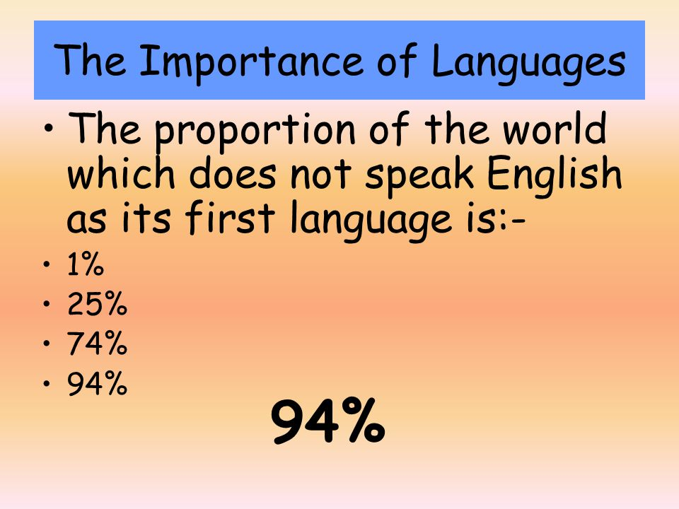 The proportion of the world which does not speak English as its first language is:- 1% 25% 74% 94% The Importance of Languages