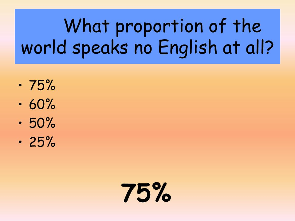 What proportion of the world speaks no English at all 75% 60% 50% 25% 75%