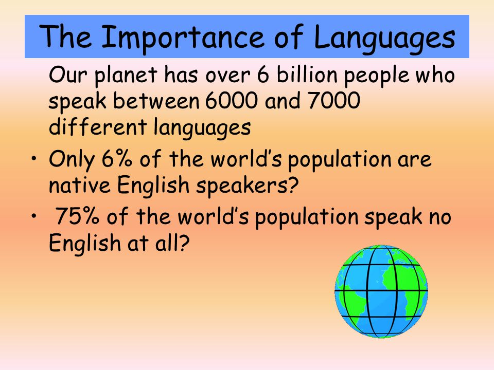 Our planet has over 6 billion people who speak between 6000 and 7000 different languages Only 6% of the world's population are native English speakers.