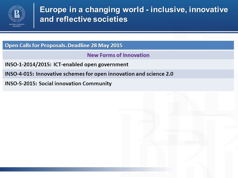 Europe in a changing world - inclusive, innovative and reflective societies Open Calls for Proposals.