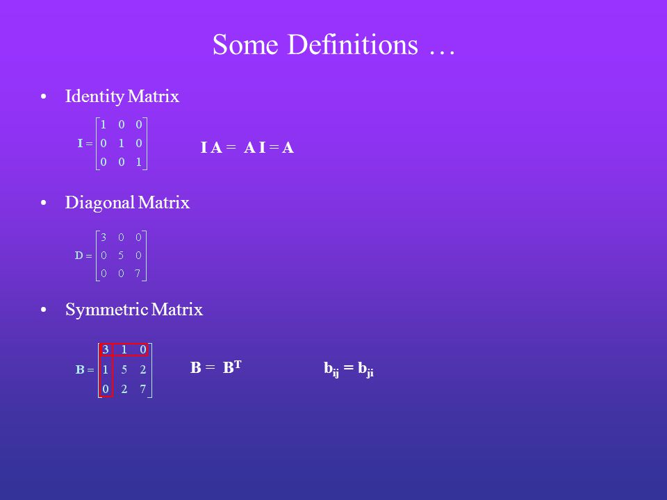 Some Definitions … Identity Matrix Diagonal Matrix Symmetric Matrix I A = A I = A B = B T b ij = b ji