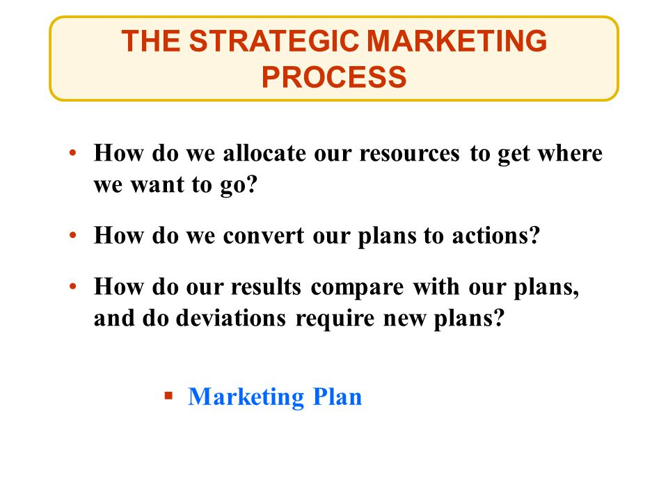 THE STRATEGIC MARKETING PROCESS How do we allocate our resources to get where we want to go.