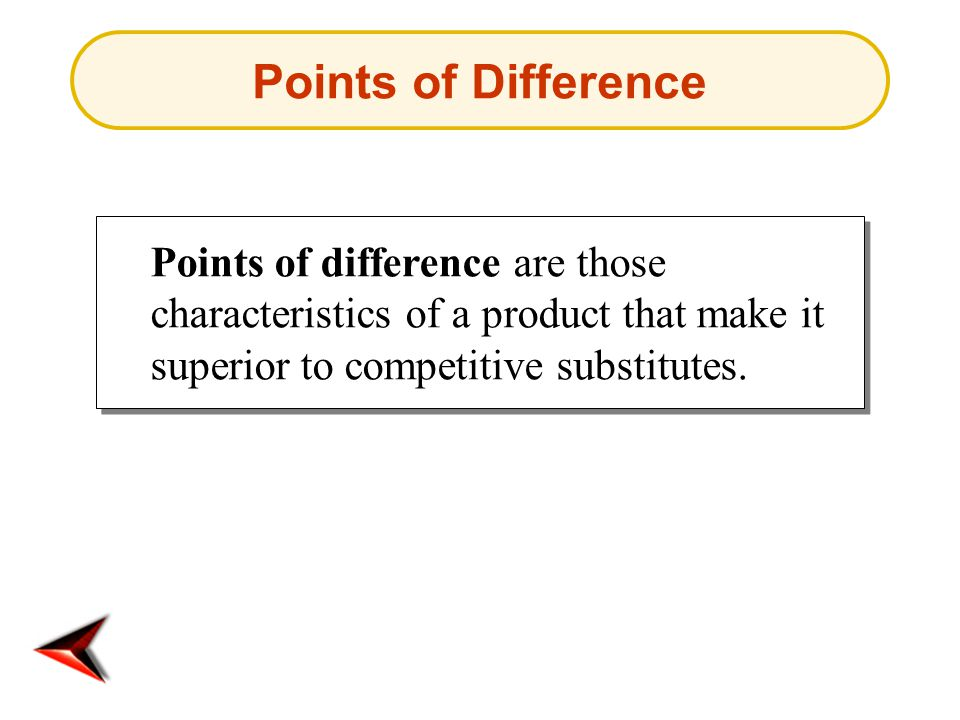 Points of difference are those characteristics of a product that make it superior to competitive substitutes.