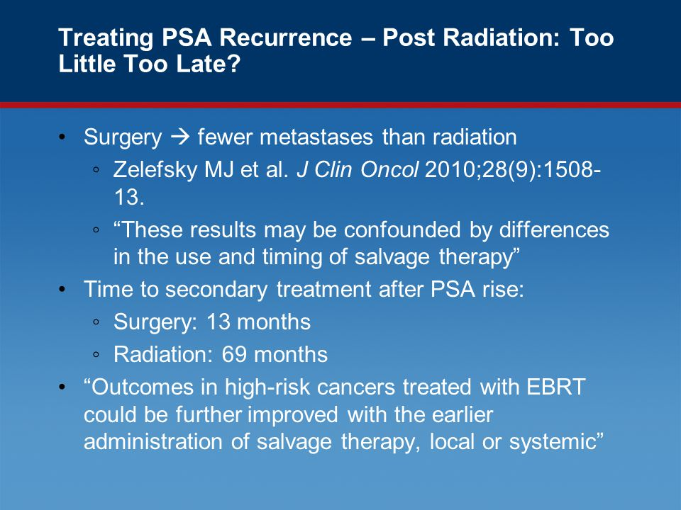 Treating PSA Recurrence – Post Radiation: Too Little Too Late.