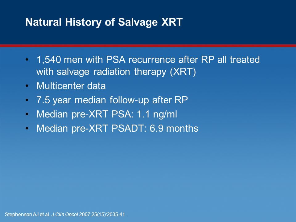 Natural History of Salvage XRT 1,540 men with PSA recurrence after RP all treated with salvage radiation therapy (XRT) Multicenter data 7.5 year median follow-up after RP Median pre-XRT PSA: 1.1 ng/ml Median pre-XRT PSADT: 6.9 months Stephenson AJ et al.
