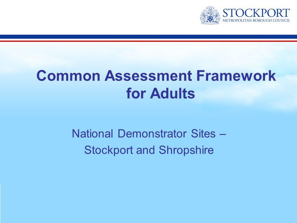 3 Common Assessment Framework for Adults National Demonstrator Sites –  Stockport and Shropshire