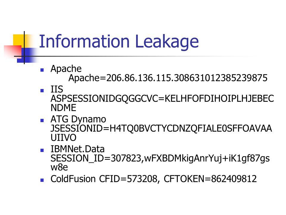 Information Leakage Apache Apache=206.86.136.115.308631012385239875 IIS ASPSESSIONIDGQGGCVC=KELHFOFDIHOIPLHJEBEC NDME ATG Dynamo JSESSIONID=H4TQ0BVCTYCDNZQFIALE0SFFOAVAA UIIVO IBMNet.Data SESSION_ID=307823,wFXBDMkigAnrYuj+iK1gf87gs w8e ColdFusion CFID=573208, CFTOKEN=862409812
