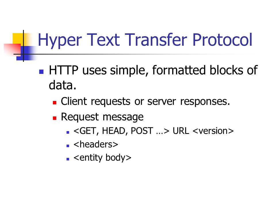 Hyper Text Transfer Protocol HTTP uses simple, formatted blocks of data.