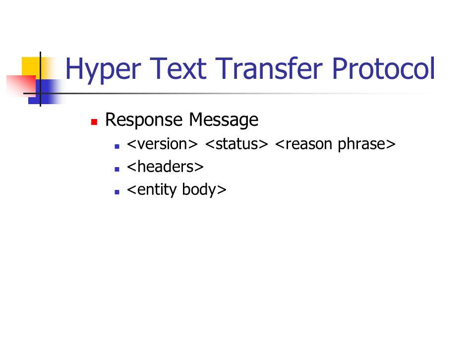 Hyper Text Transfer Protocol Response Message
