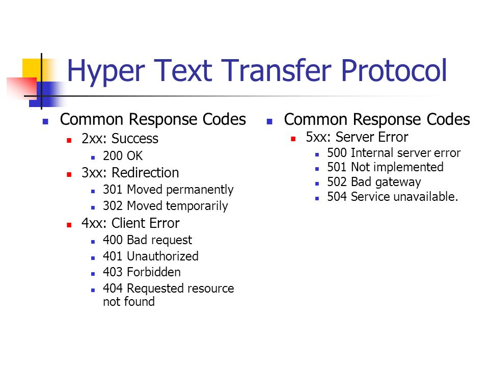 Hyper Text Transfer Protocol Common Response Codes 2xx: Success 200 OK 3xx: Redirection 301 Moved permanently 302 Moved temporarily 4xx: Client Error 400 Bad request 401 Unauthorized 403 Forbidden 404 Requested resource not found Common Response Codes 5xx: Server Error 500 Internal server error 501 Not implemented 502 Bad gateway 504 Service unavailable.