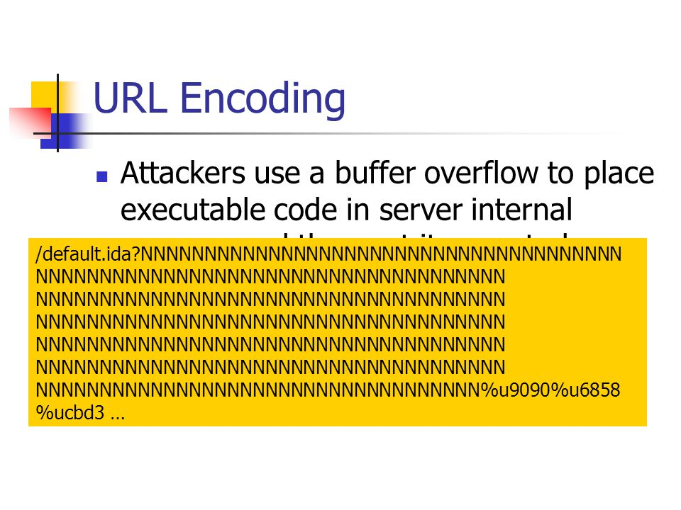 URL Encoding Attackers use a buffer overflow to place executable code in server internal memory and then get it executed.