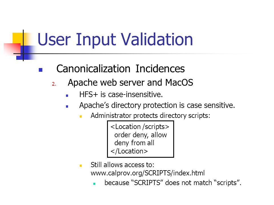 User Input Validation Canonicalization Incidences 2.