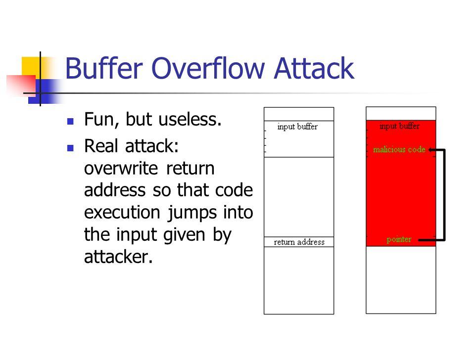 Buffer Overflow Attack Fun, but useless.
