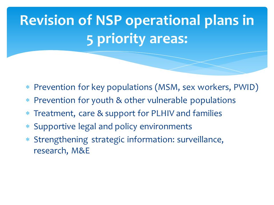  Prevention for key populations (MSM, sex workers, PWID)  Prevention for youth & other vulnerable populations  Treatment, care & support for PLHIV and families  Supportive legal and policy environments  Strengthening strategic information: surveillance, research, M&E Revision of NSP operational plans in 5 priority areas: