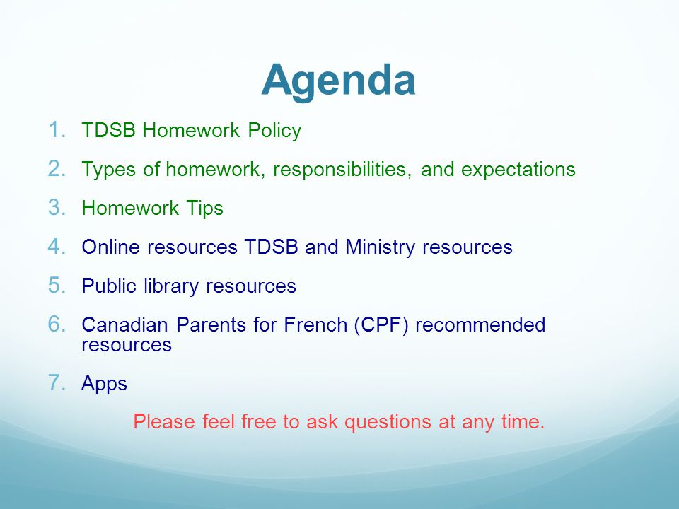 Homework Help  amp  Online Resources Presented by  Kristina Laperle     TDSB Homework Policy Available in    languages Can be found under the TDSB website in the