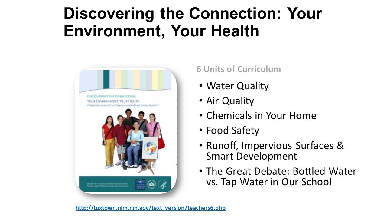 Discovering the Connection: Your Environment, Your Health   6 Units of Curriculum Water Quality Air Quality Chemicals in Your Home Food Safety Runoff, Impervious Surfaces & Smart Development The Great Debate: Bottled Water vs.