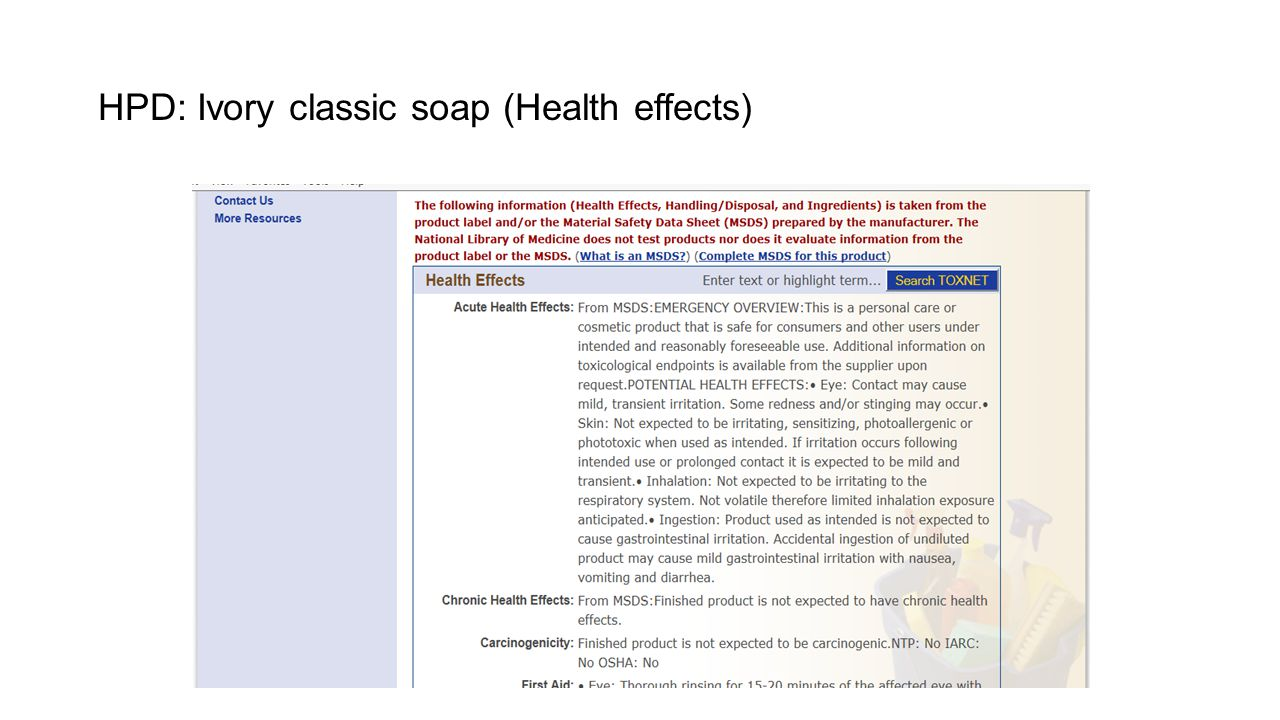 HPD: Ivory classic soap (Health effects)