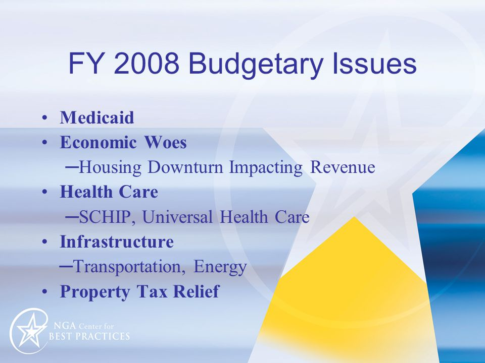 FY 2008 Budgetary Issues Medicaid Economic Woes ─Housing Downturn Impacting Revenue Health Care ─SCHIP, Universal Health Care Infrastructure ─Transportation, Energy Property Tax Relief